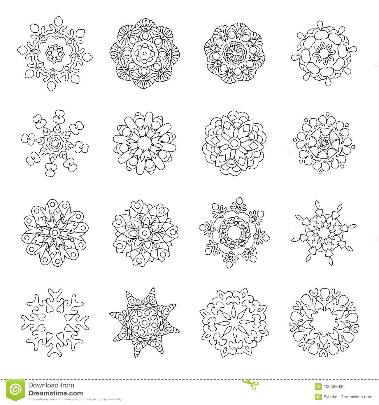 set of christmas doodles snowflakes fractals or mandala icons coloring page with holiday decorations for 2018 happy new year greeting card or adult