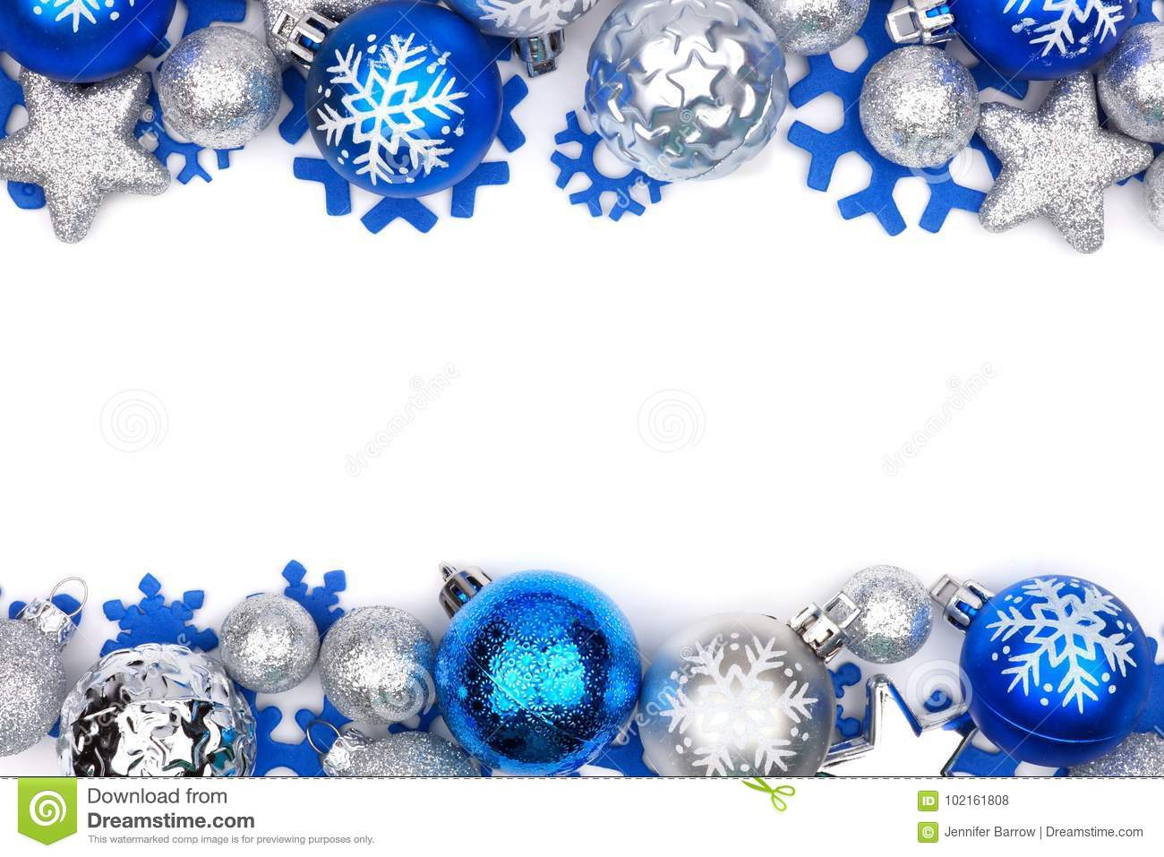 blue and silver christmas ornament double border over white - Blue And Silver Christmas Ornaments