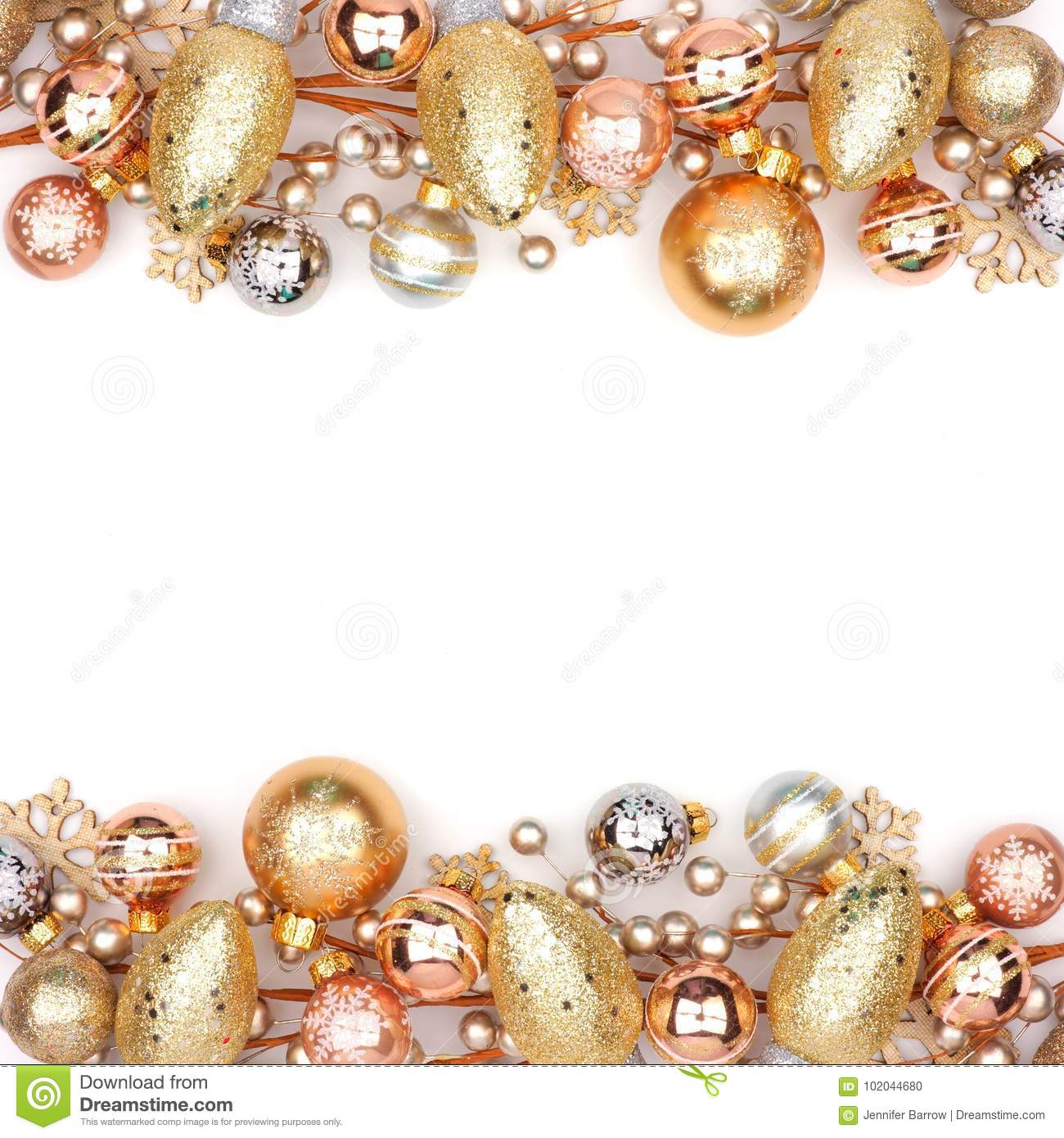 Christmas Double Border Of Gold Ornaments Isolated On White Stock ...