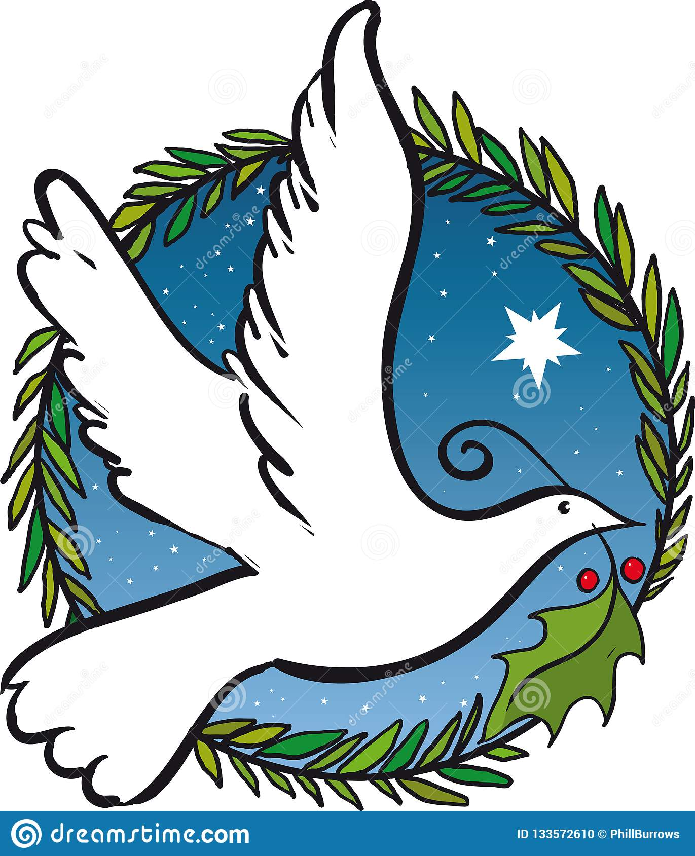 Flying Christmas Dove Of Peace Stock Vector Illustration Of Background Symbol 133572610
