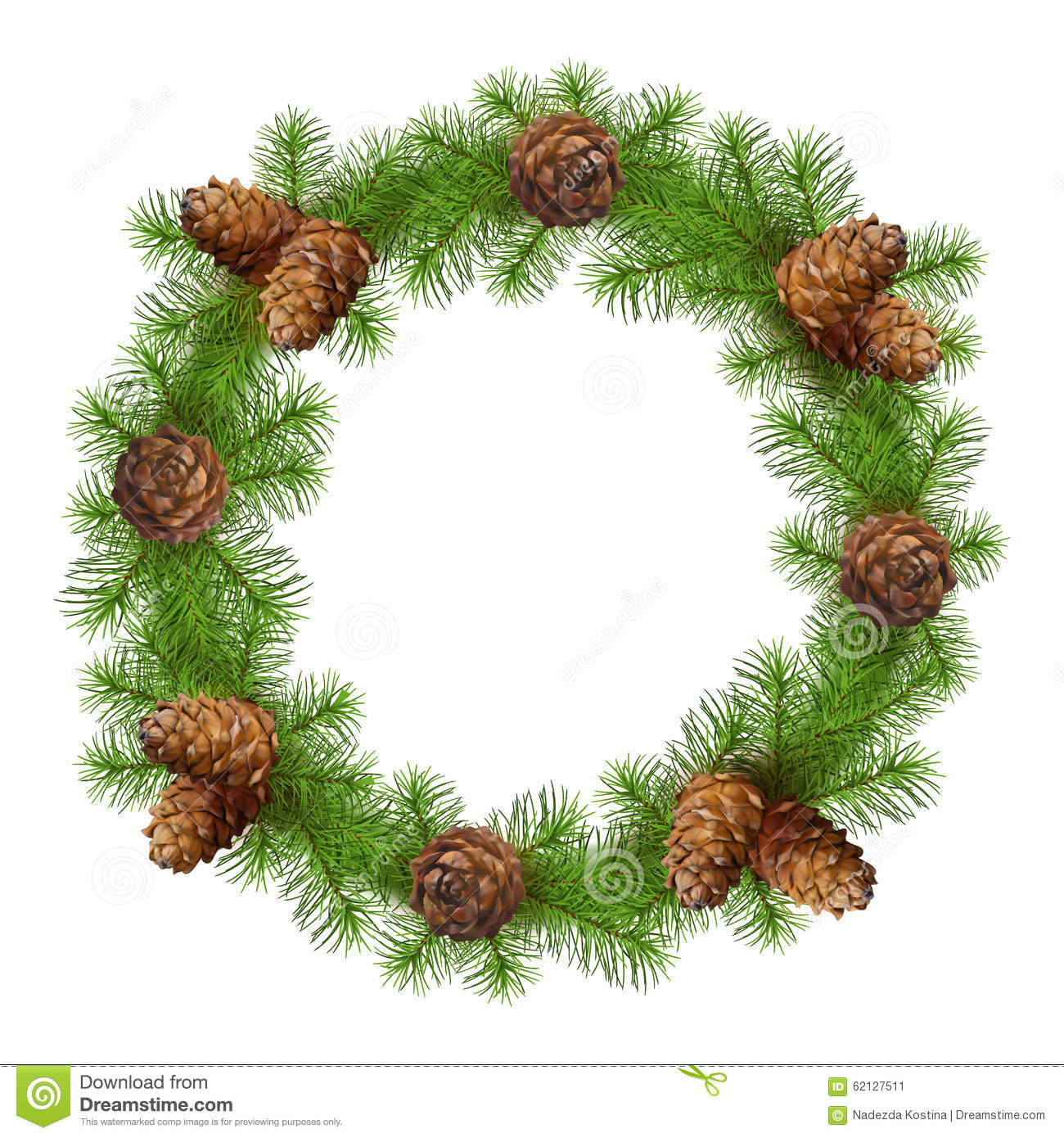 Christmas Drawing Tree Branches Wreath Stock Vector ...