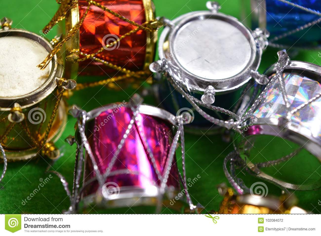 Christmas Drum.Christmas Drums On Green Background Stock Photo Image Of