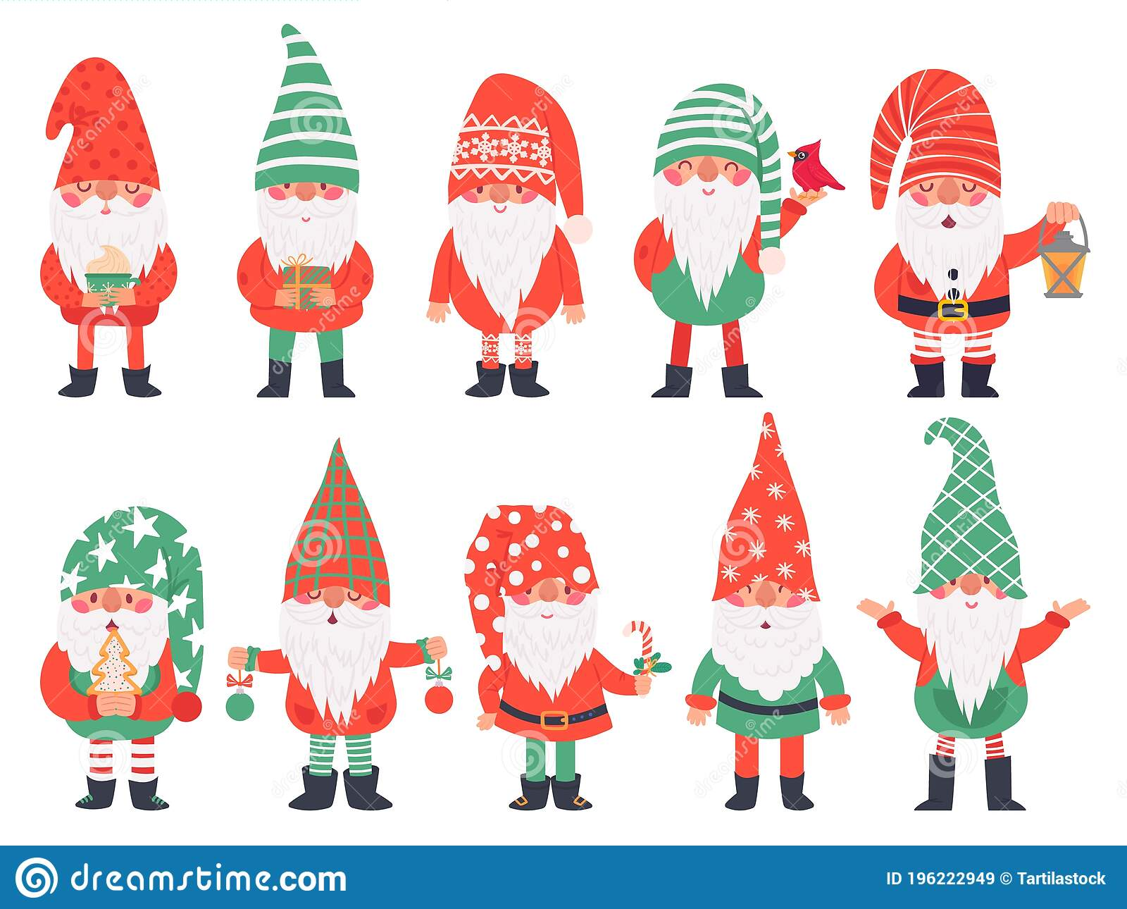 Christmas Dwarfs Funny Fabulous Gnomes In Red Costumes Xmas Gnome With Lantern Traditional Decoration Winter Holiday Stock Vector Illustration Of Dwarf Funny 196222949