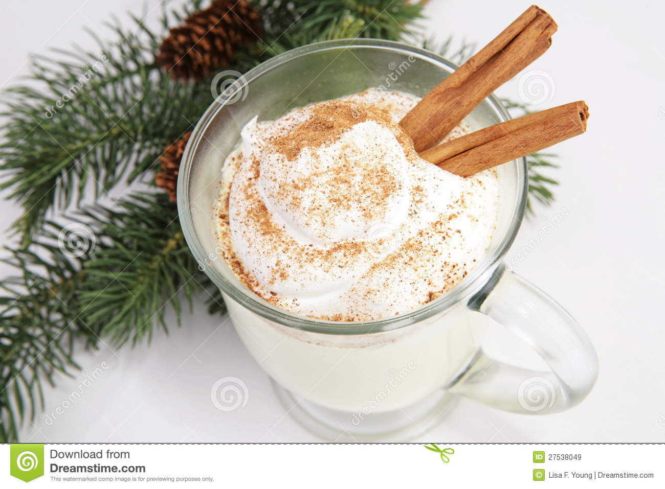 Delicious Christmas eggnog, with whipped cream, nutmeg, and cinnamon.