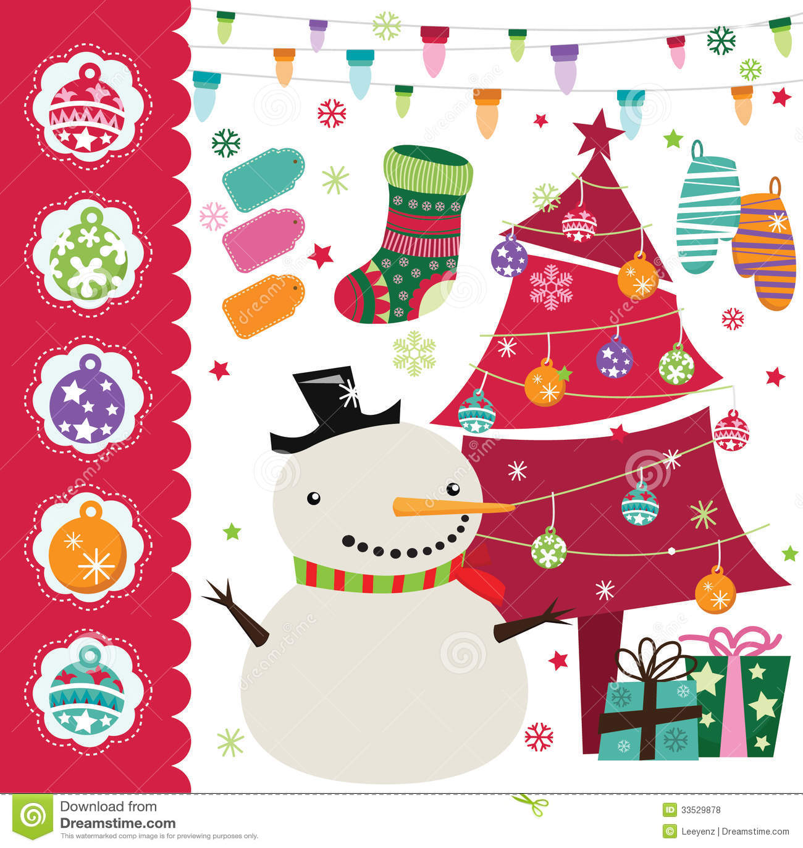 Christmas Tree Decoration Elements: Christmas Elements Set Royalty Free Stock Photos