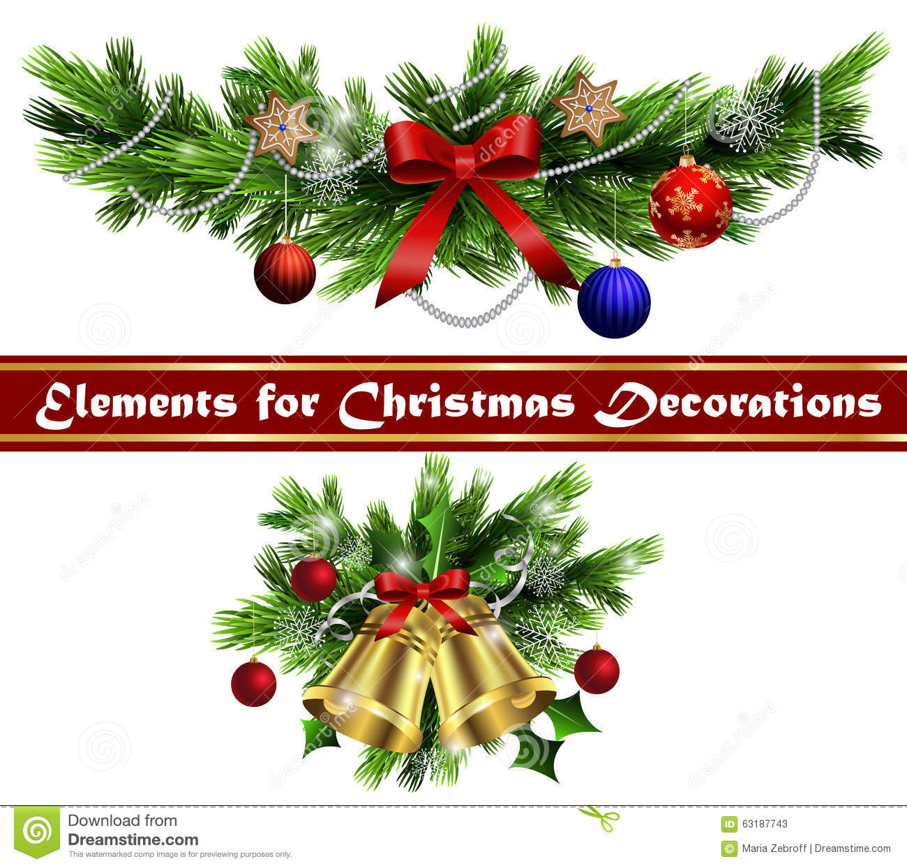 Christmas Tree Decoration Elements: Christmas Elements For Your Designs Stock Vector