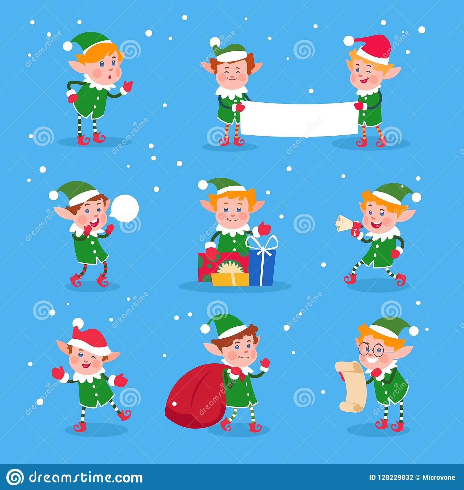 b7a60e07ee8 Christmas elf. Baby elves santa claus helpers. Funny winter dwarf vector  characters. Illustration of funny character boy