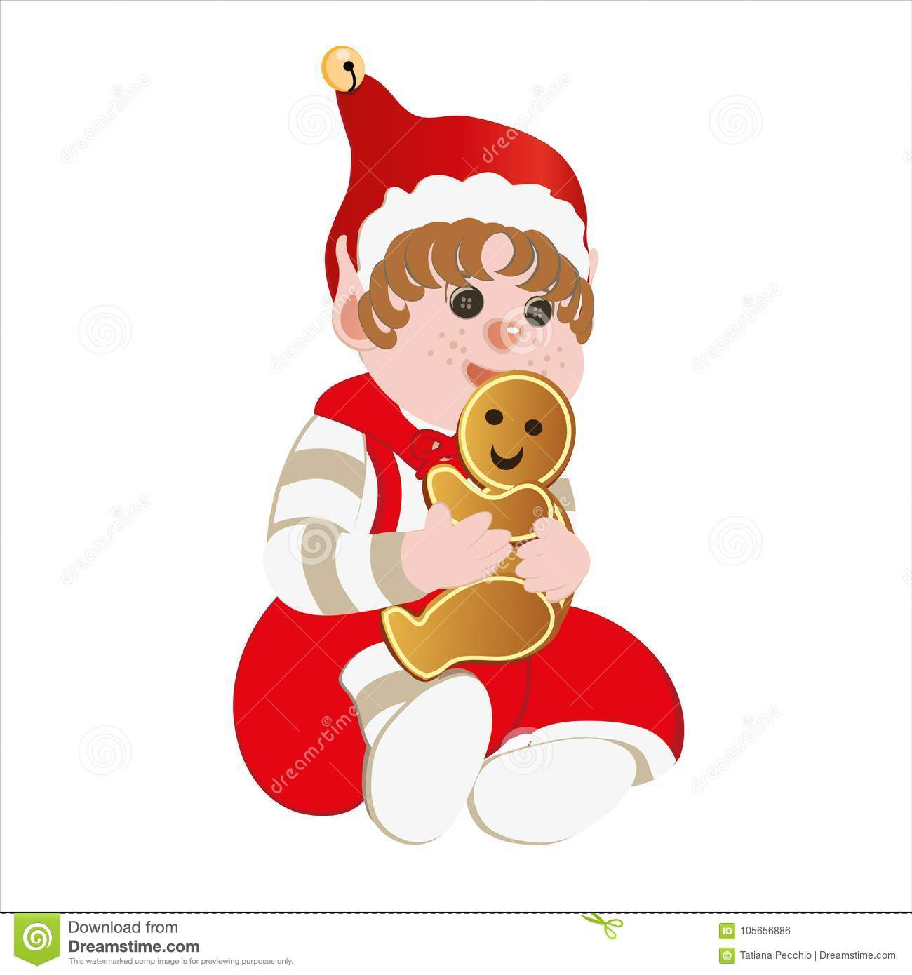 Christmas elf with biscuit stock illustration. Illustration of ...