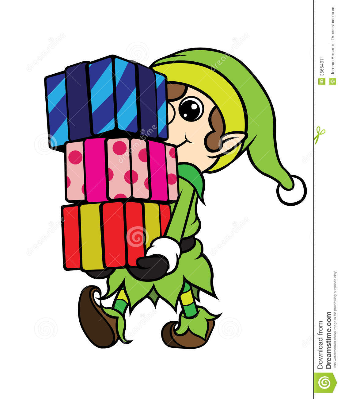 ... cartoon illustration of a christmas elf boy carrying pile of gifts