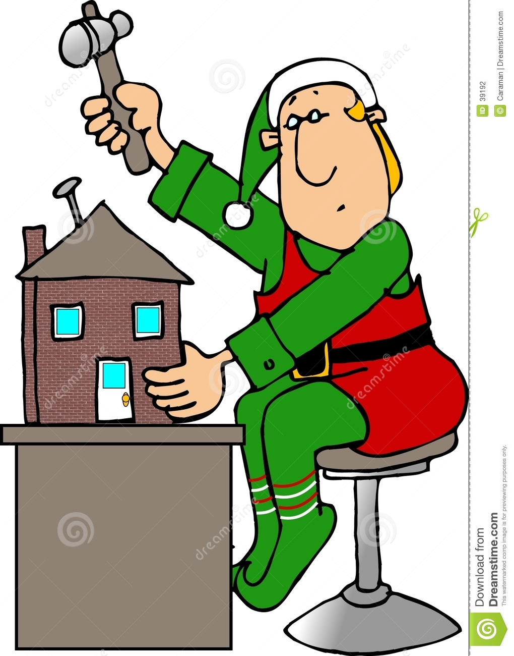 Christmas Elf building a Doll House