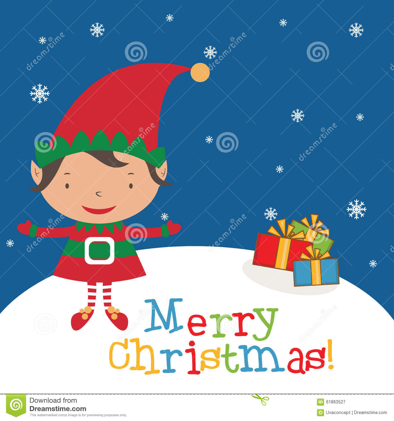 Christmas Elf Card Template Stock Vector Illustration Of Drawing