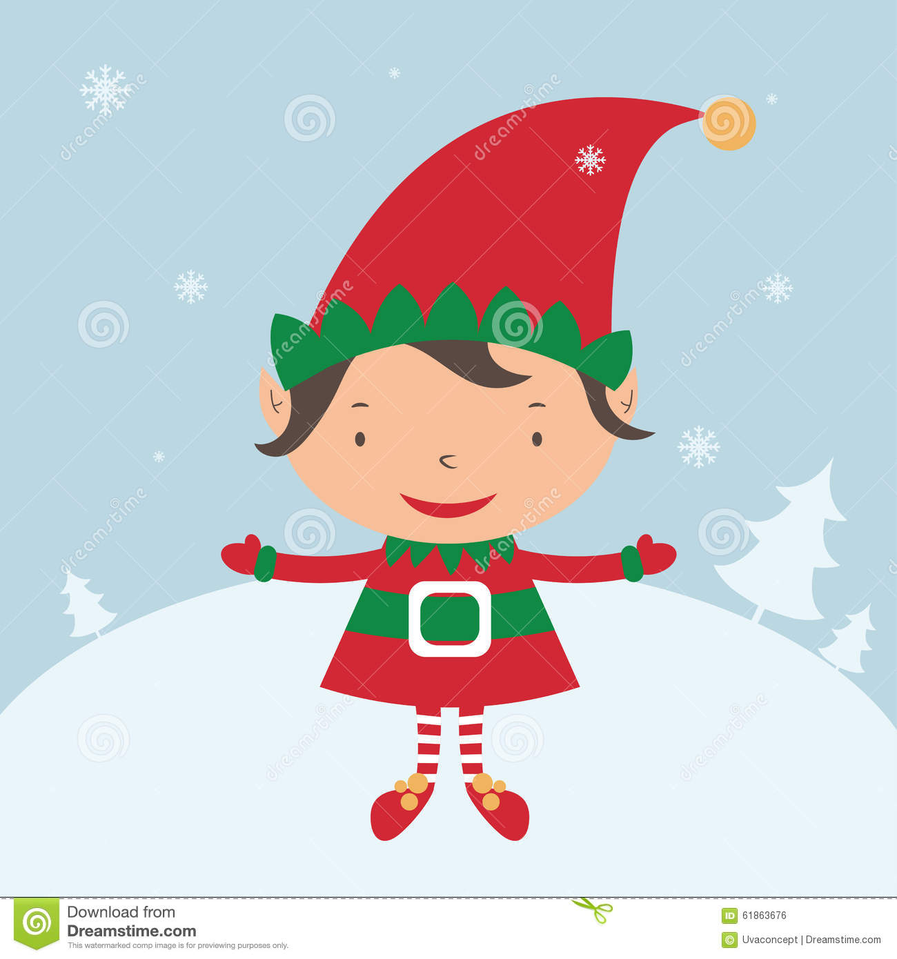Christmas Elf Card Template Stock Vector Illustration Of Happy