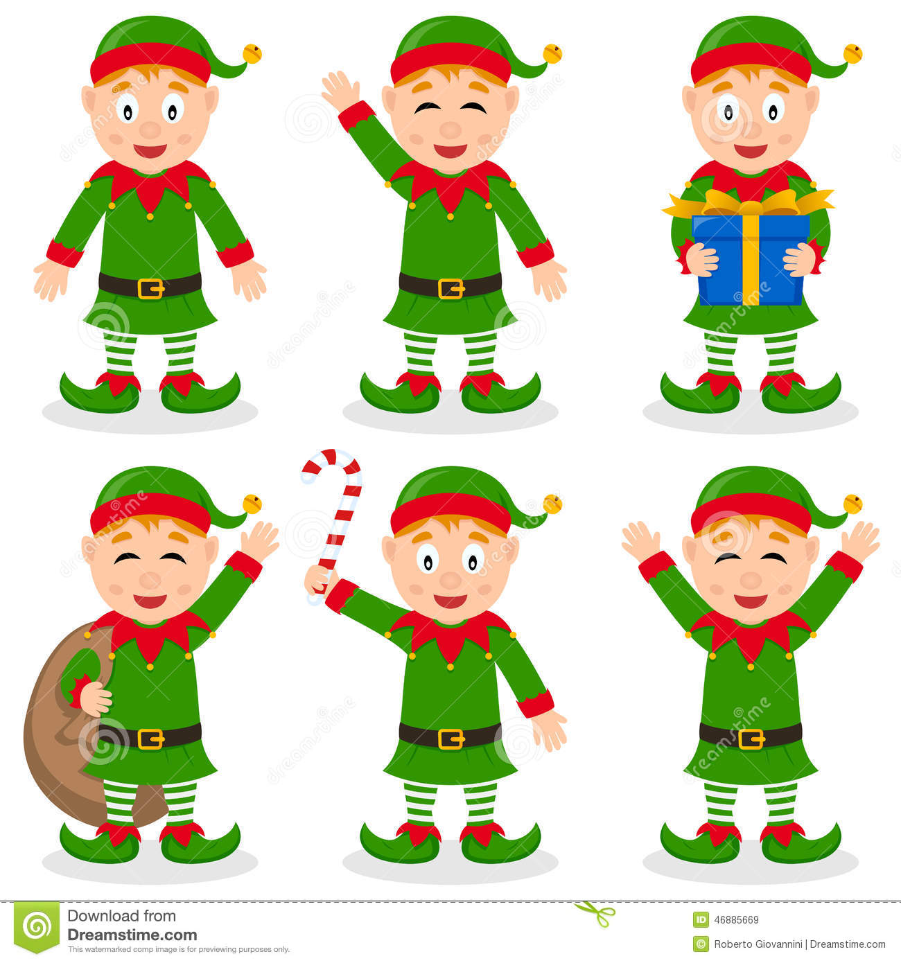 Collection of six funny cartoon Christmas elves character in different ...