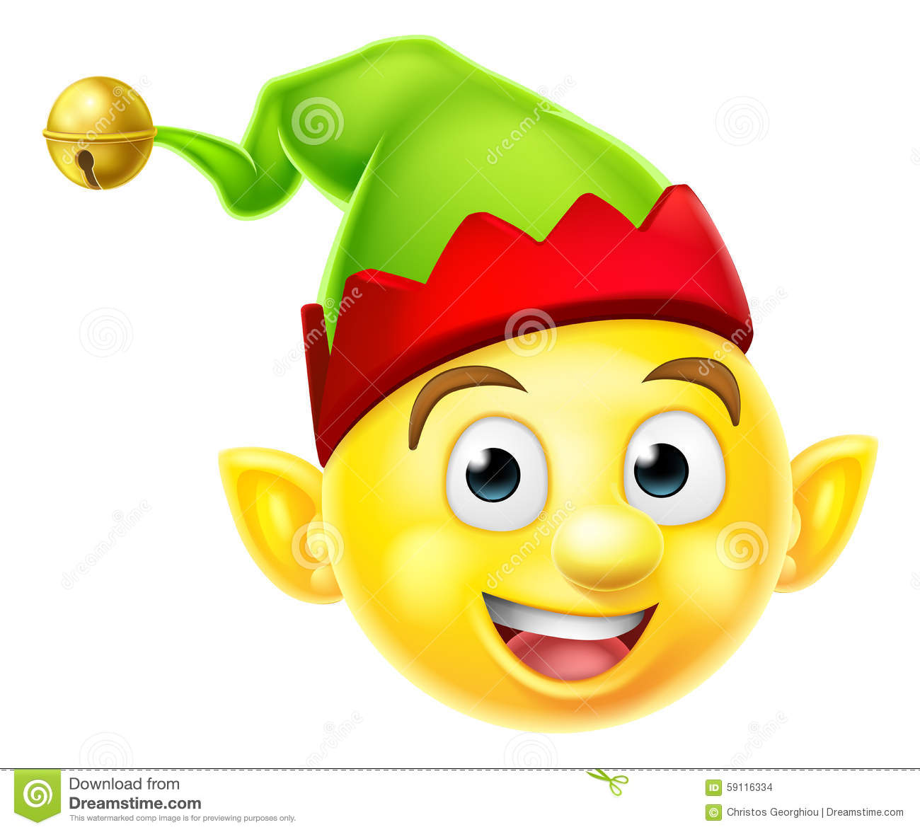 Christmas Elf Emoticon Stock Vector - Image: 59116334