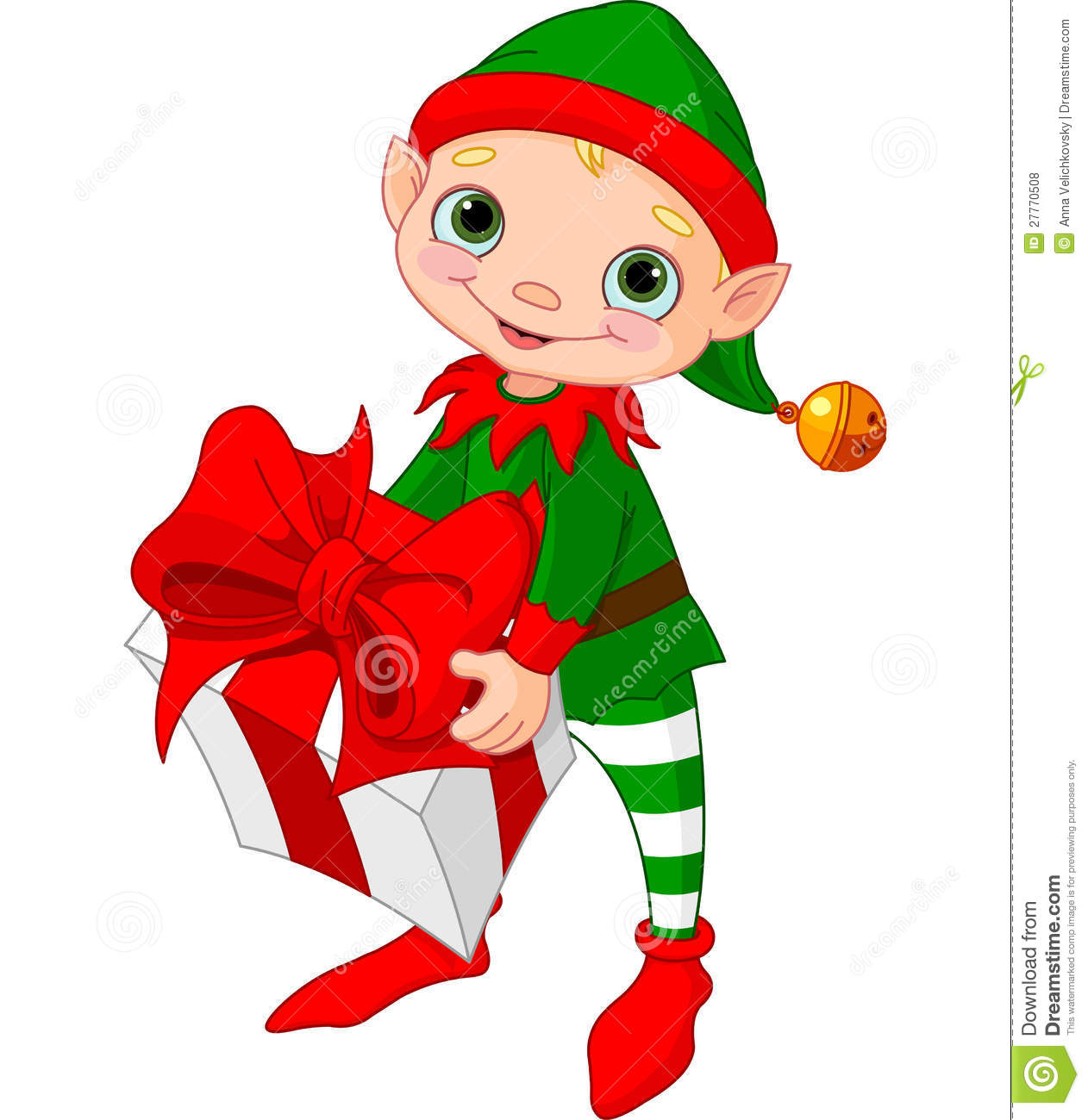 Christmas Elf with gift stock vector. Illustration of ...
