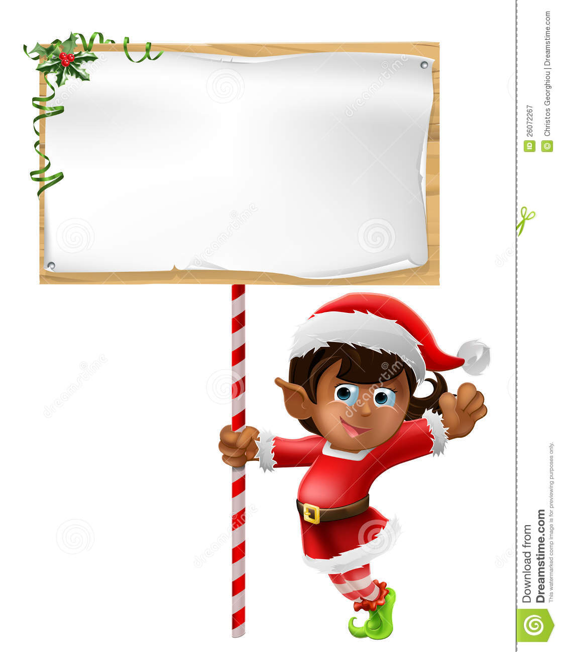 Christmas Elf Holding A Sign Stock Vector - Illustration of ...