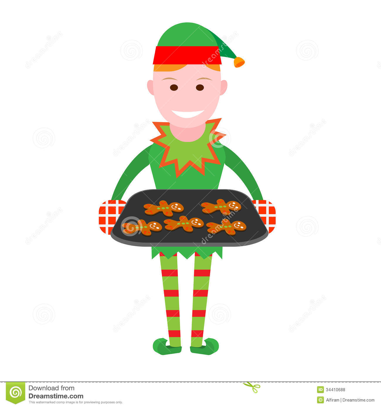 Christmas Elf Holds A Tray Of Christmas Cookies Stock Vector