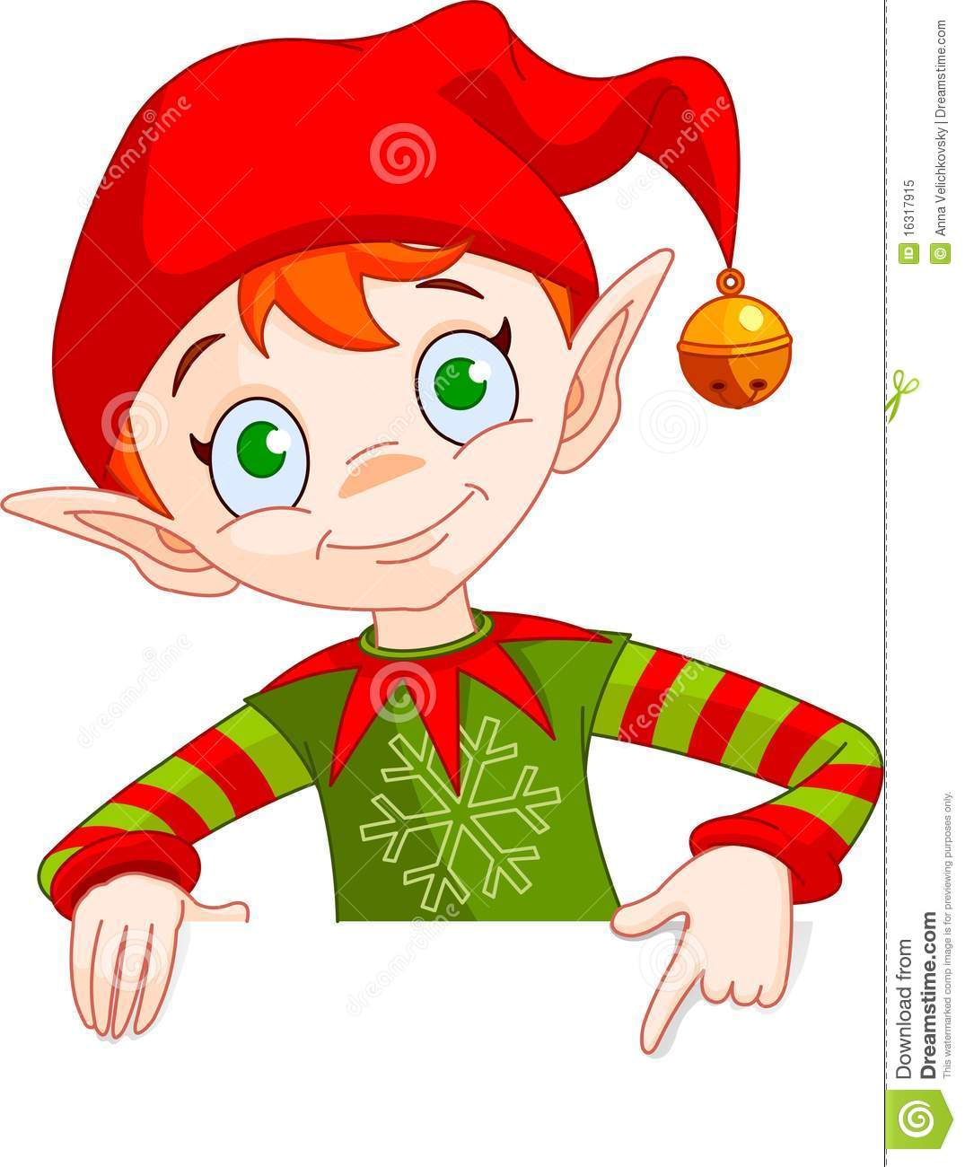 Clipart Illustration Of A Christmas Elf Holding And Pointing Down To