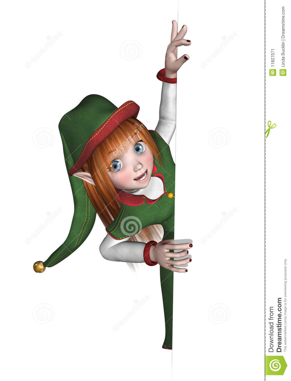 Christmas Elf Looking Around An Edge Stock Illustration ...