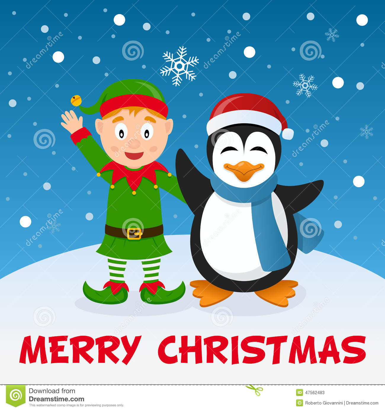 christmas elf and penguin on the snow - Merry Christmas Elf