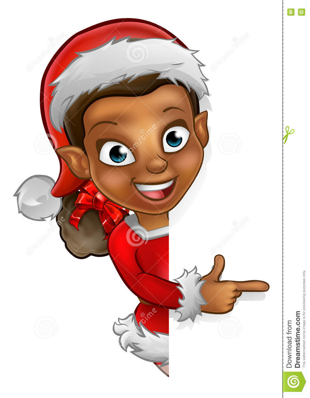 Christmas elf pointing stock vector image of holiday
