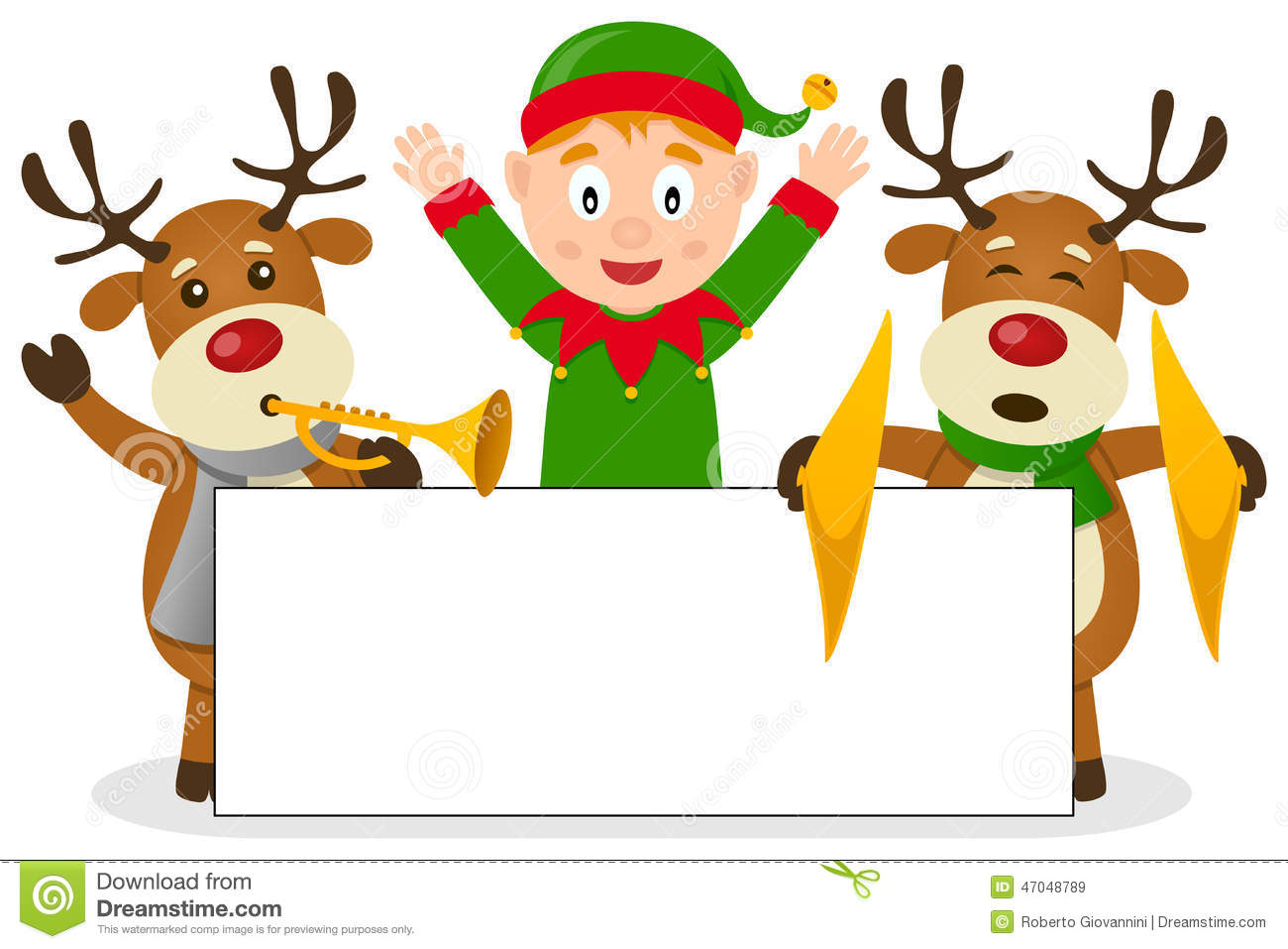 Christmas Elf & Reindeer With Banner Stock Vector - Image: 47048789