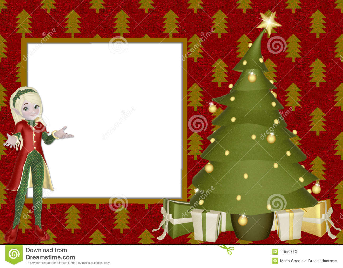 christmas elf scrapbook page stock illustration