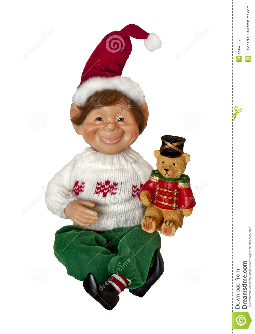 Christmas Elf With Toy Teddy Bear Royalty Free Stock Image - Image ...