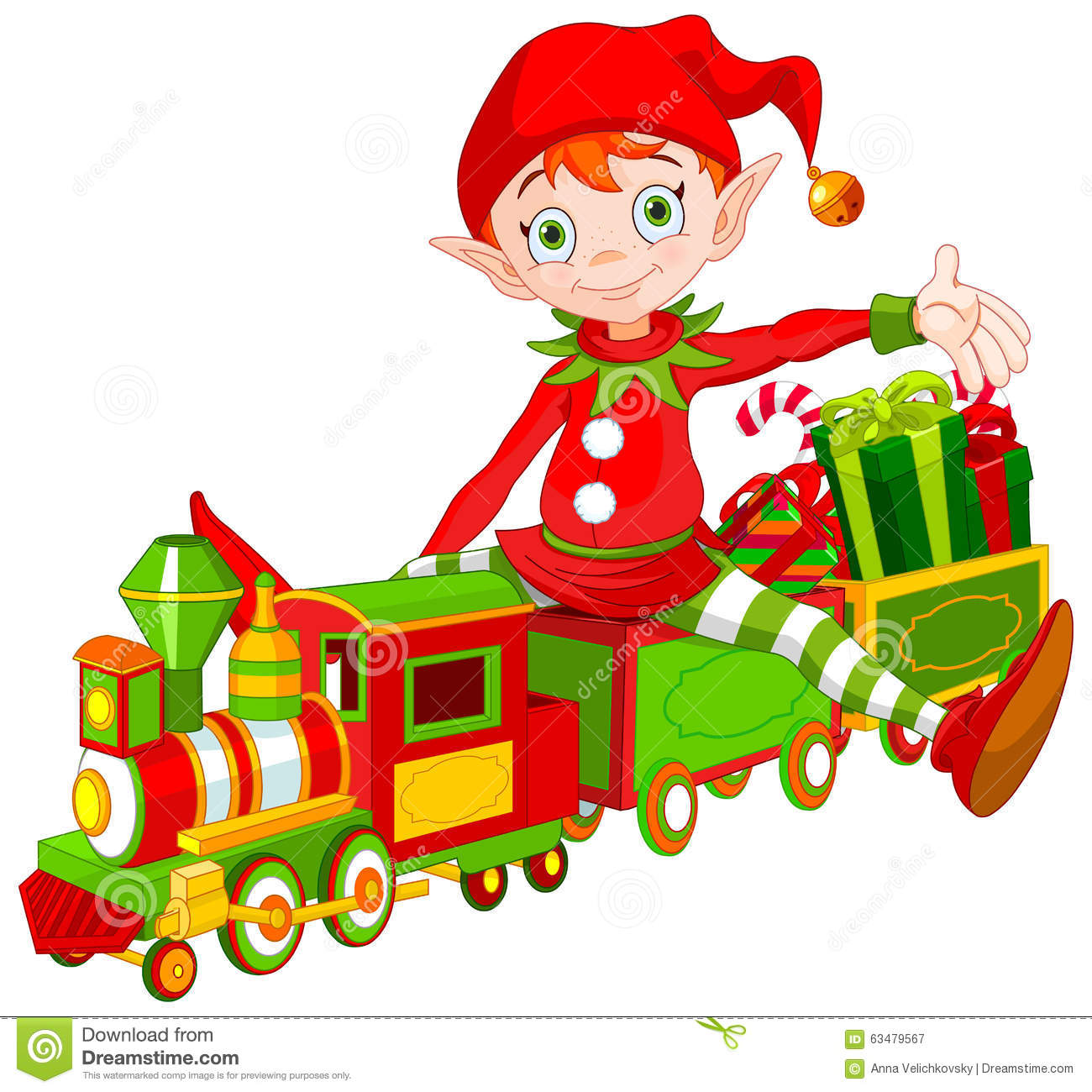 Cartoon Christmas Toys : Christmas elf and toy train stock vector image