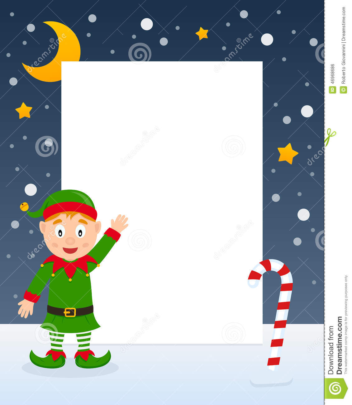Christmas Night Elf Vertical Frame