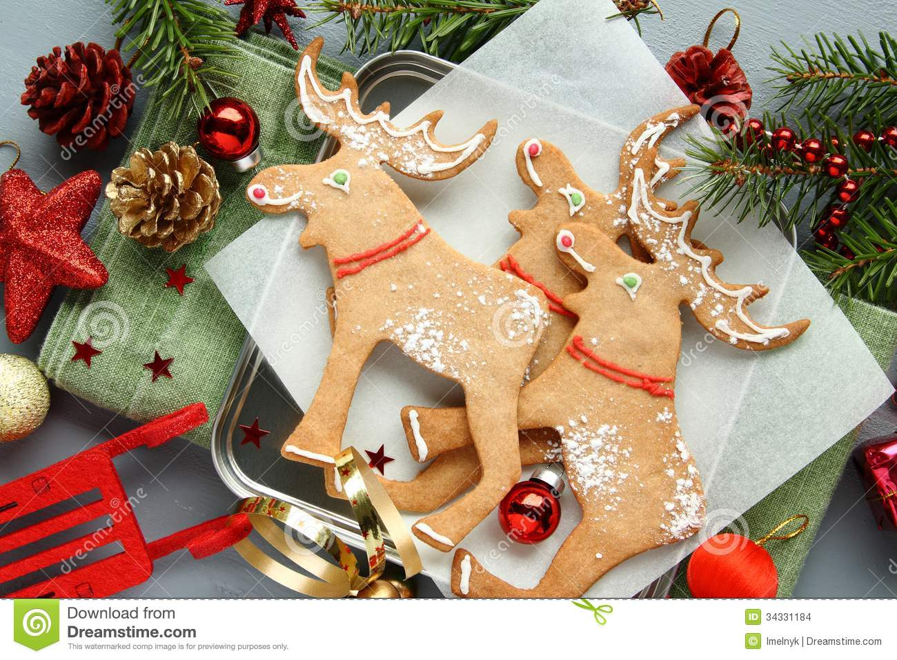 Christmas elk shaped cookies with decoration