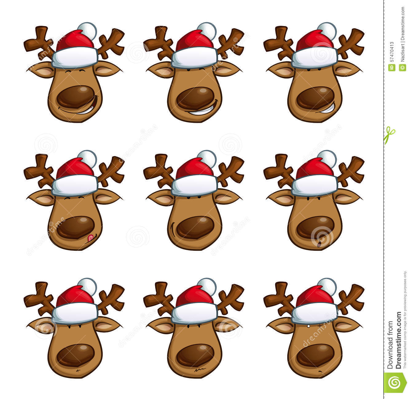 Christmas Elks Expressions Stock Vector. Illustration Of