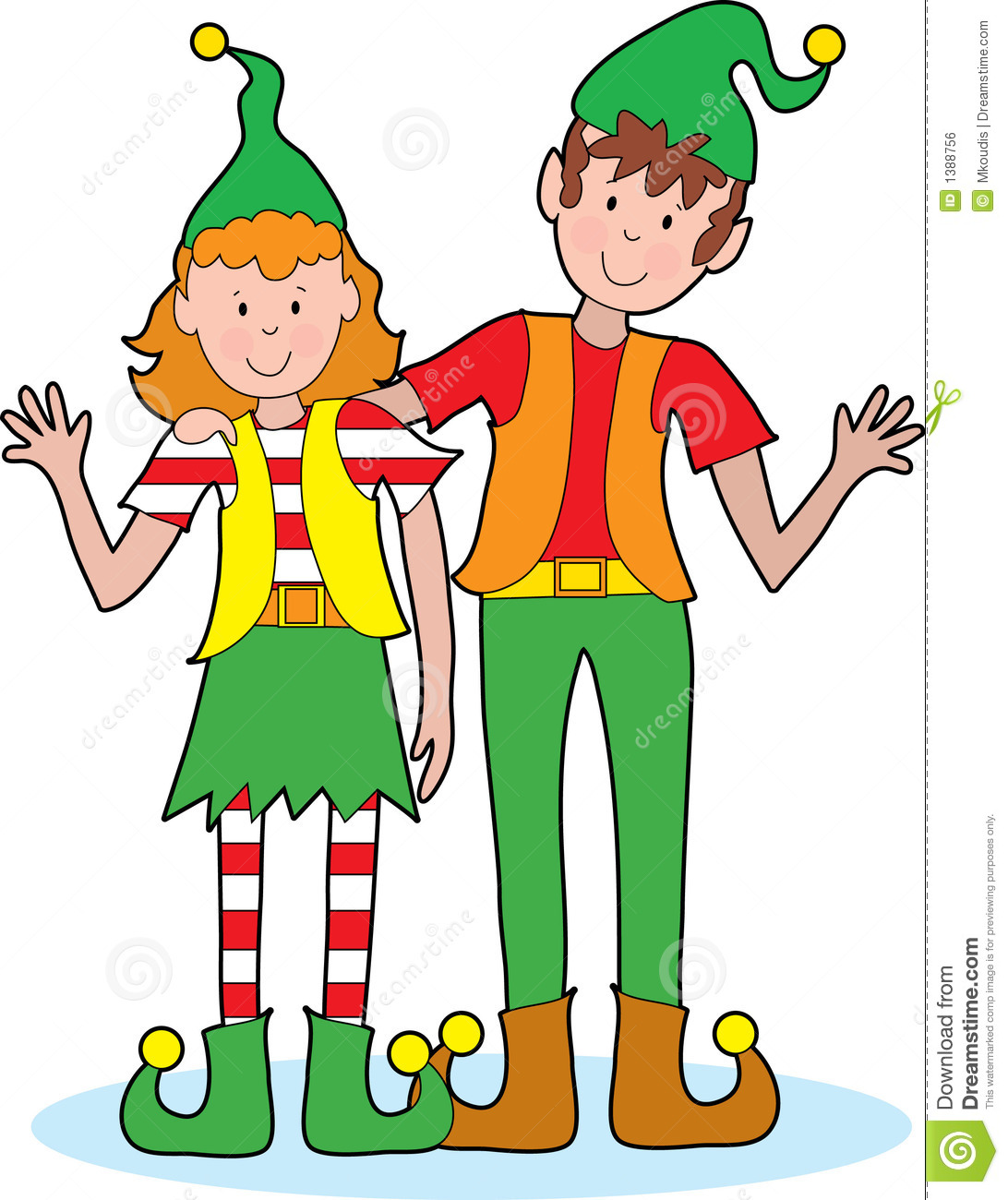 pair of happy Christmas elves waving A pair of happy Christmas elves ...
