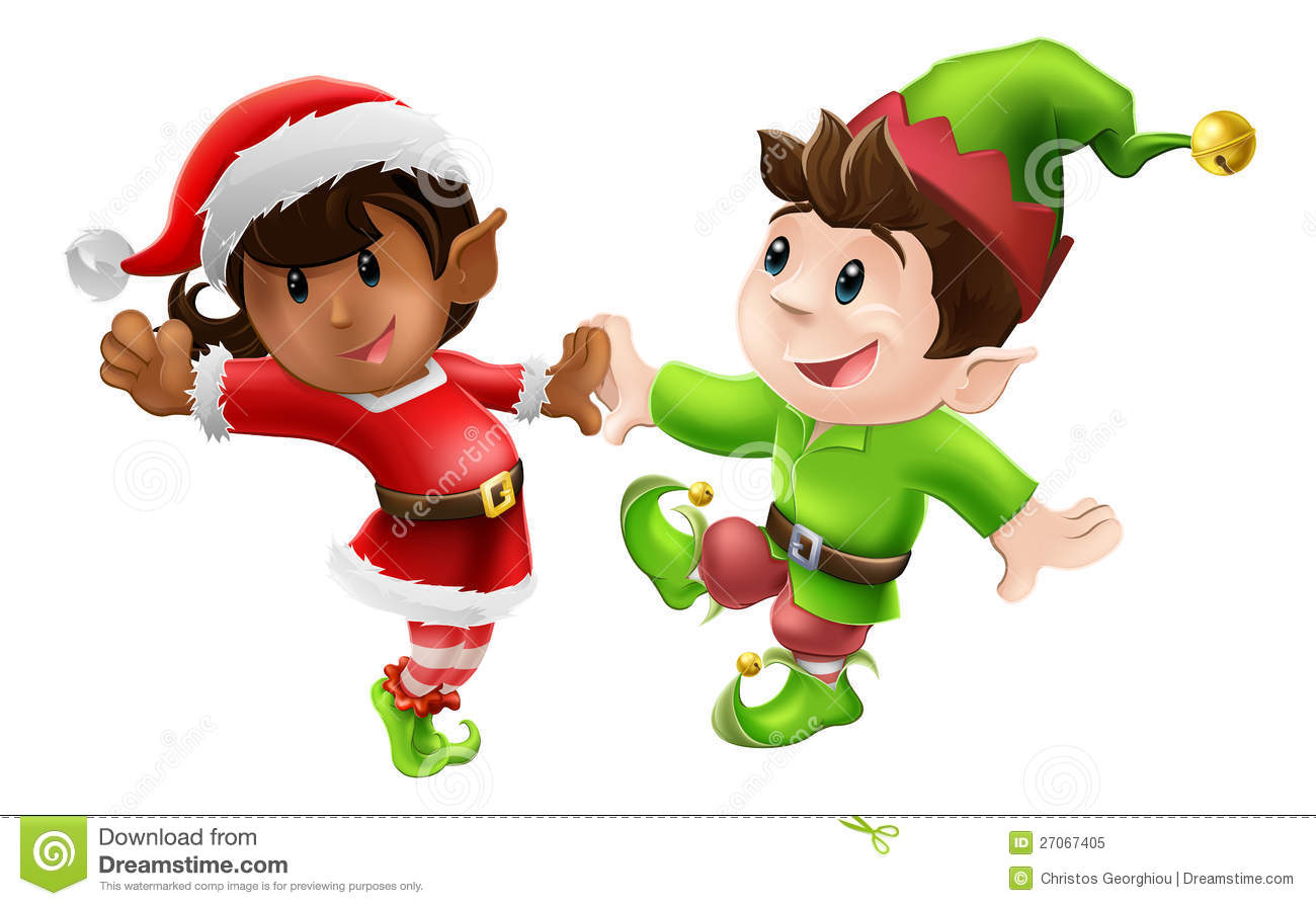 ... Christmas elves enjoying a Christmas dance in Santa outfit and elf