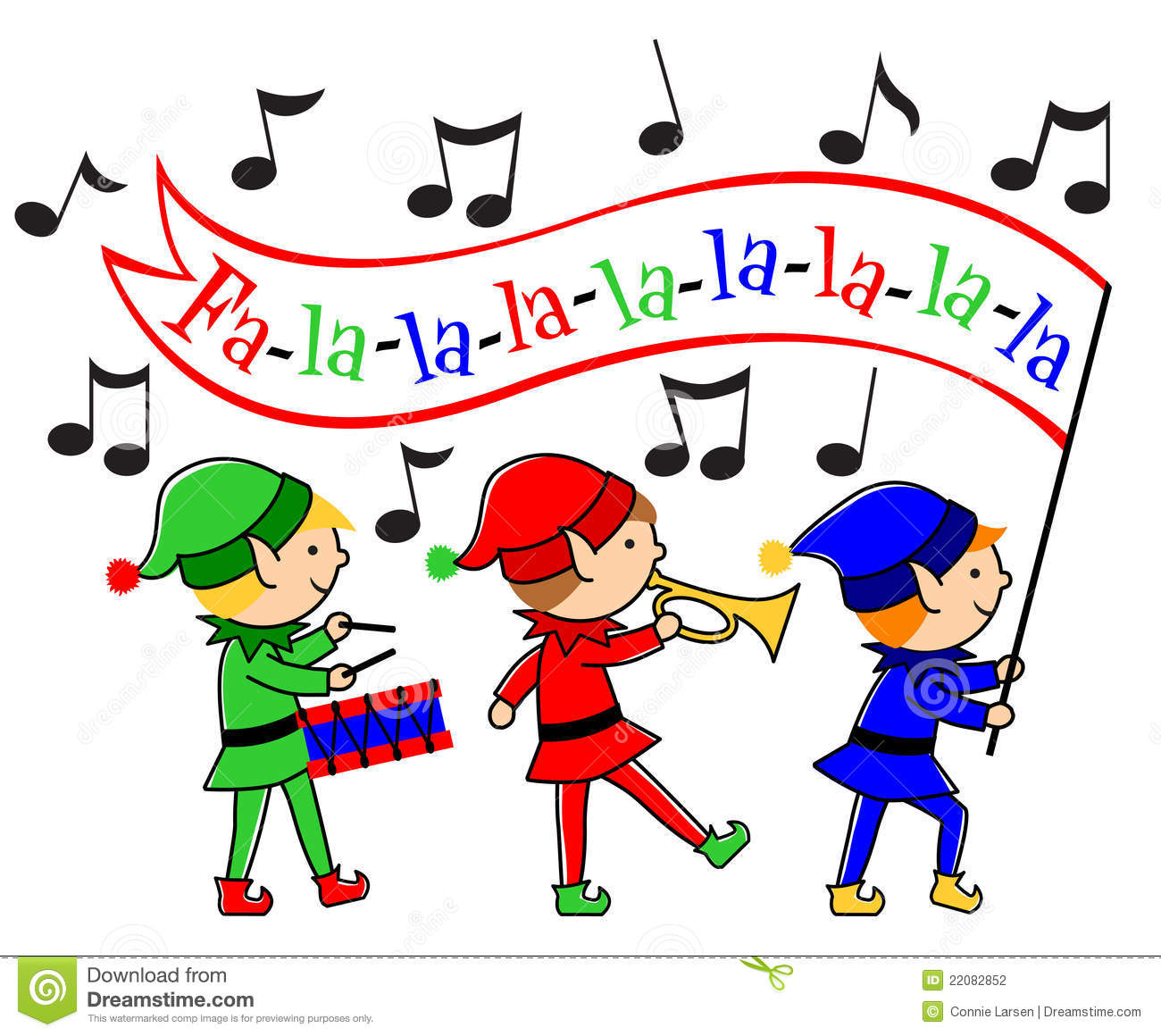 Christmas Elves Musical Parade/eps Stock Photography ...