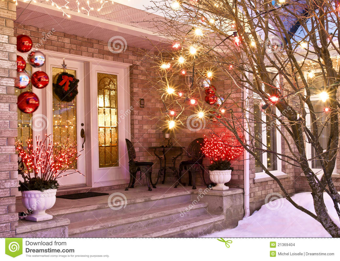 Christmas Entrance stock photo. Image of bungalow, bulbs ...