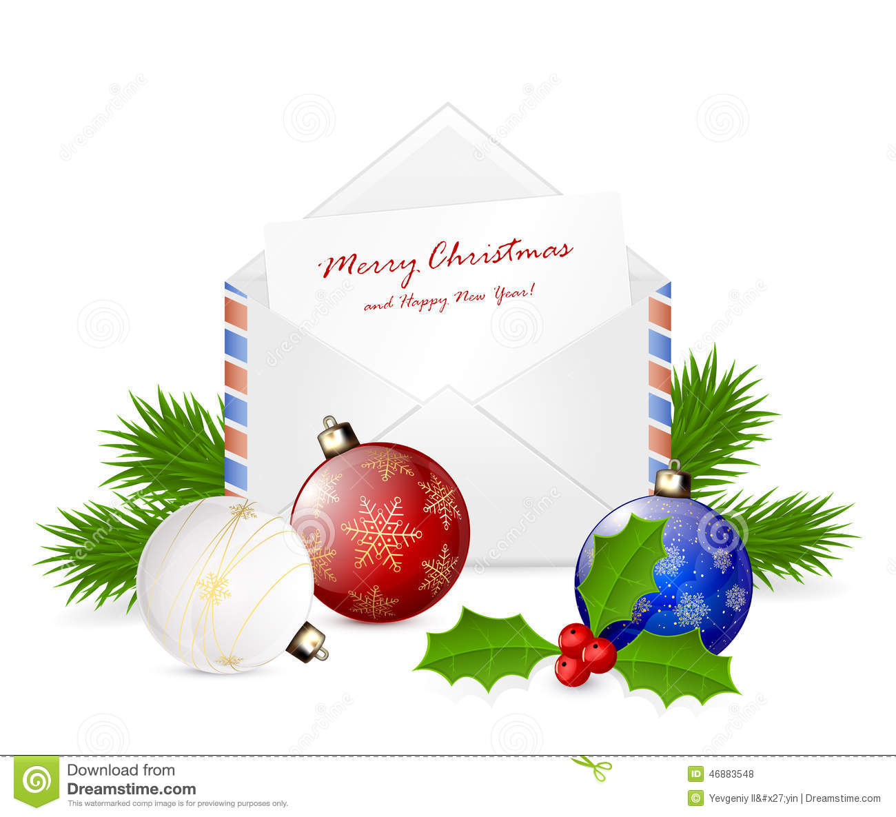 Christmas Envelope With Congratulation Stock Vector - Illustration ...