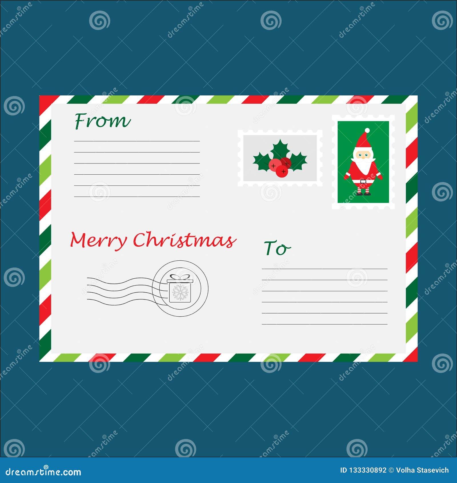 Christmas Envelope For Letter To Santa Claus For Children