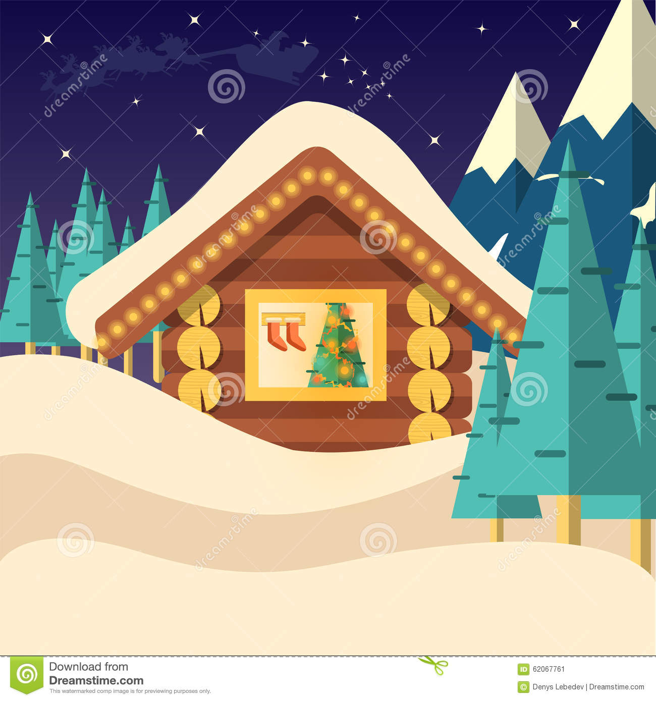 Christmas Room Stock Vector Image Of Illuminated: Christmas Eve Background Vector Illustration With House