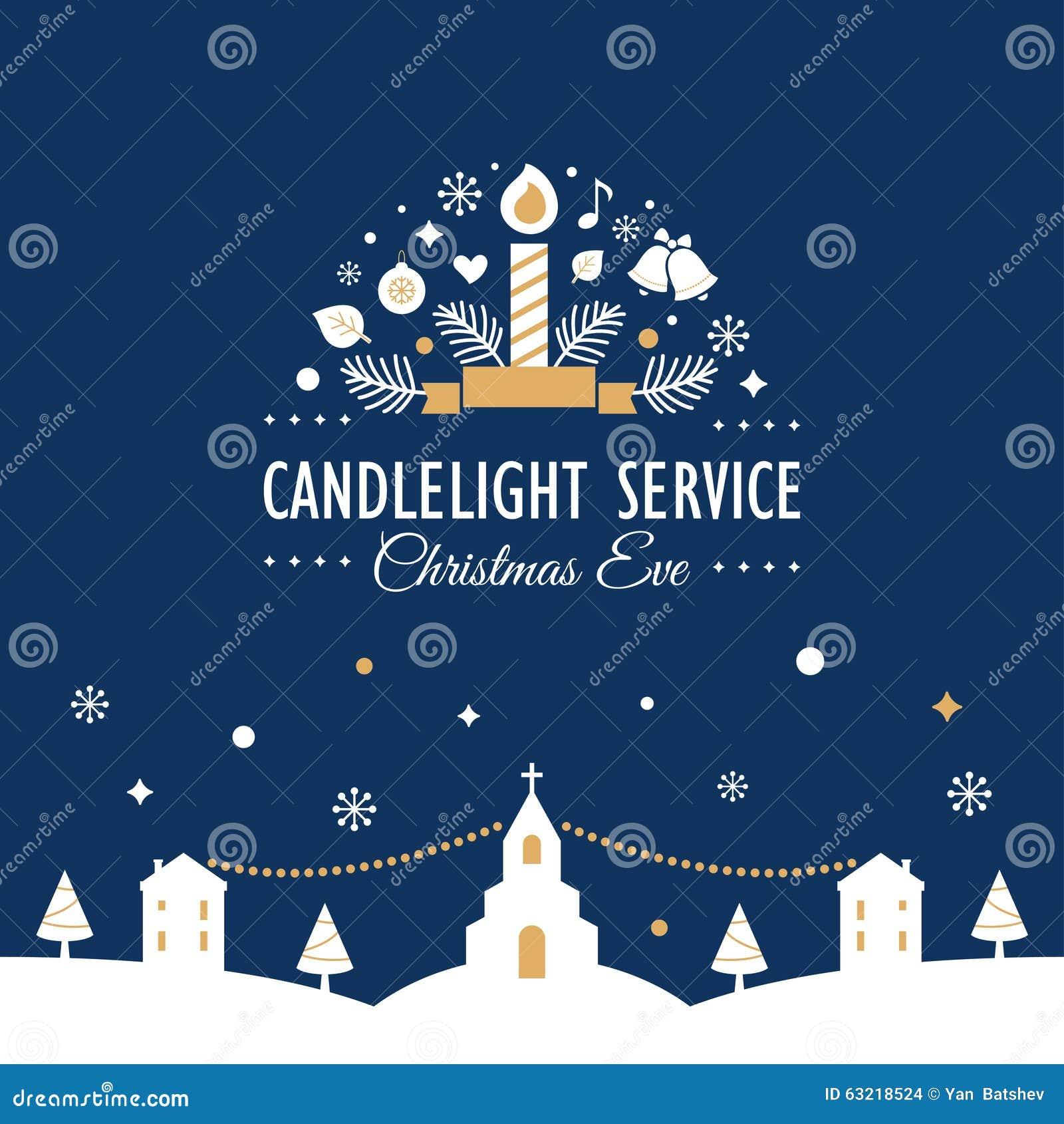 Christmas Eve Candlelight Service Invitation Card Stock Vector ...