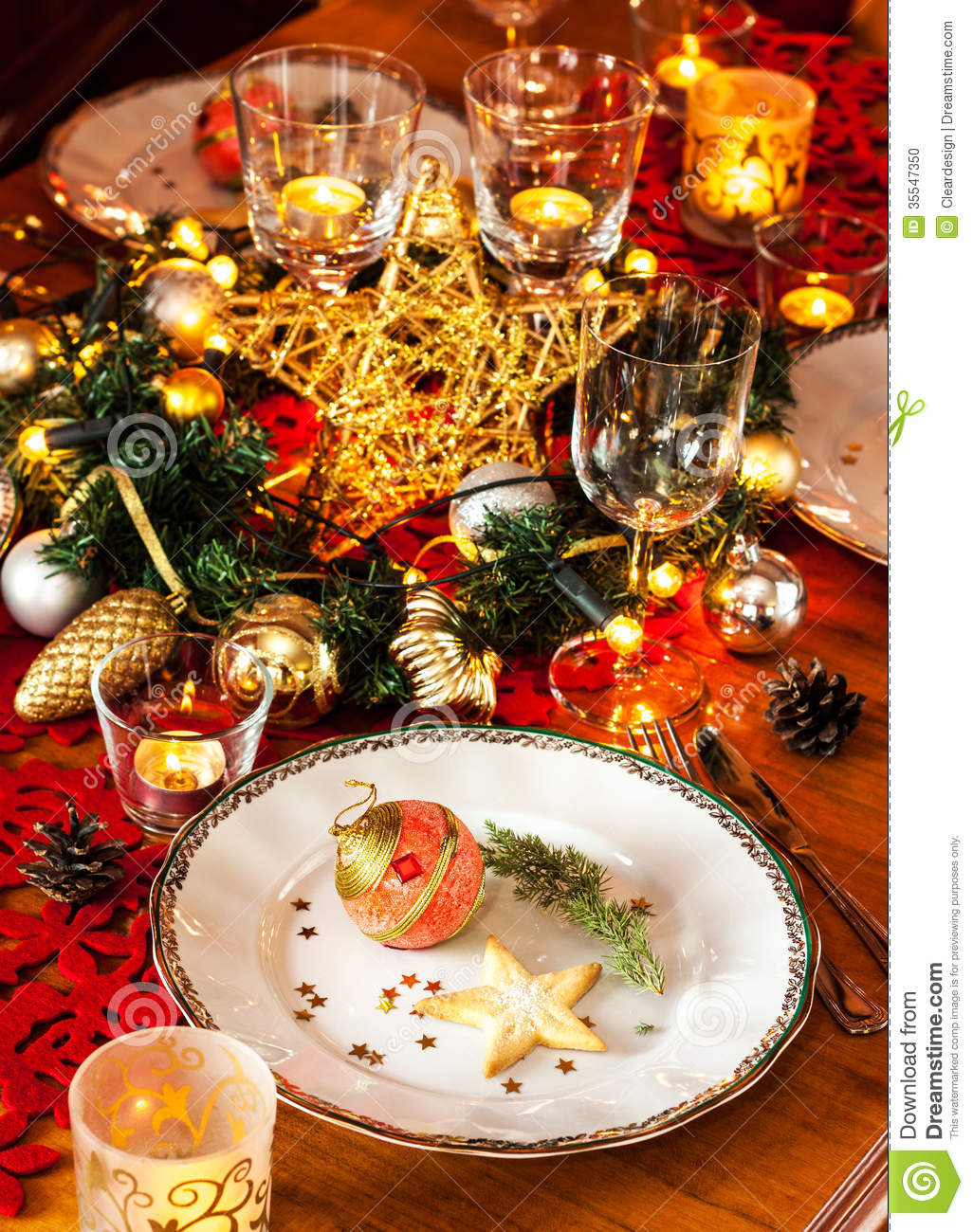 Royalty Free Stock Photo. Download Christmas Eve Dinner Party Table Setting  ...