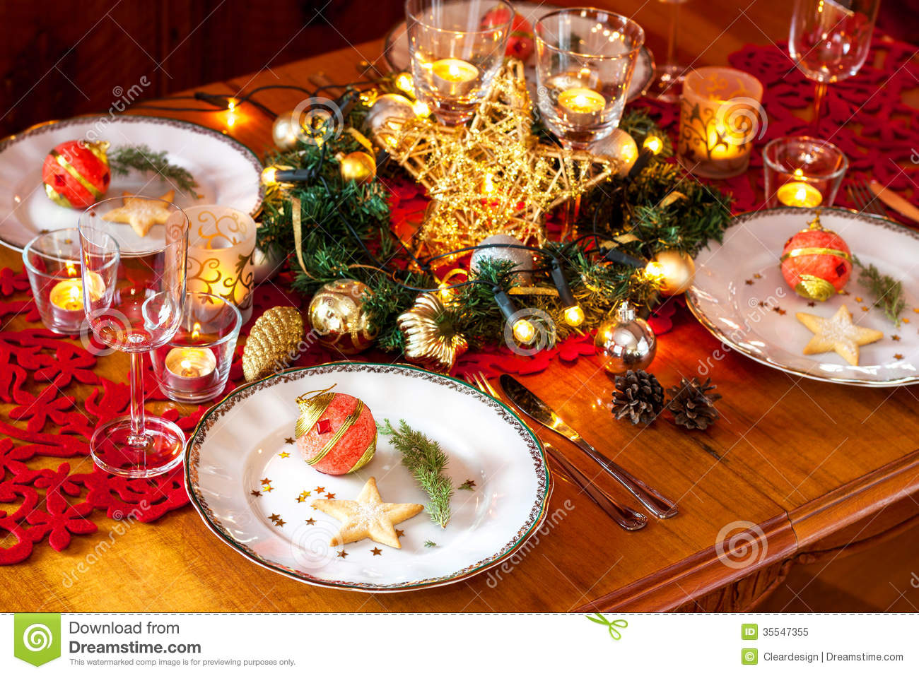 Christmas eve dinner party table setting with decorations royalty free stock photo image 35547355 - Christmas dinner decorations pictures ...