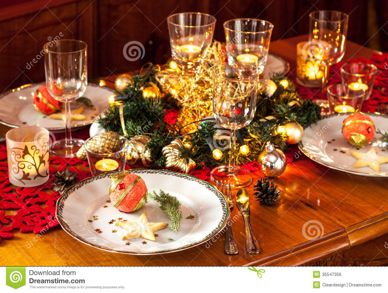 Christmas Eve Dinner Party Table Setting With Decorations Stock