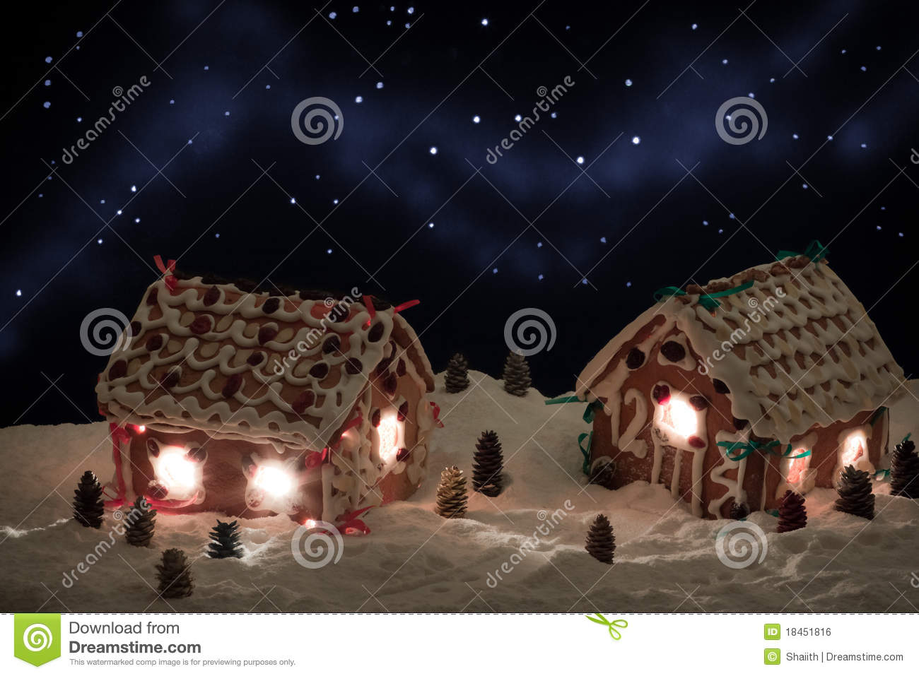 Christmas Eve In The Honey Cacke Village Stock Photo