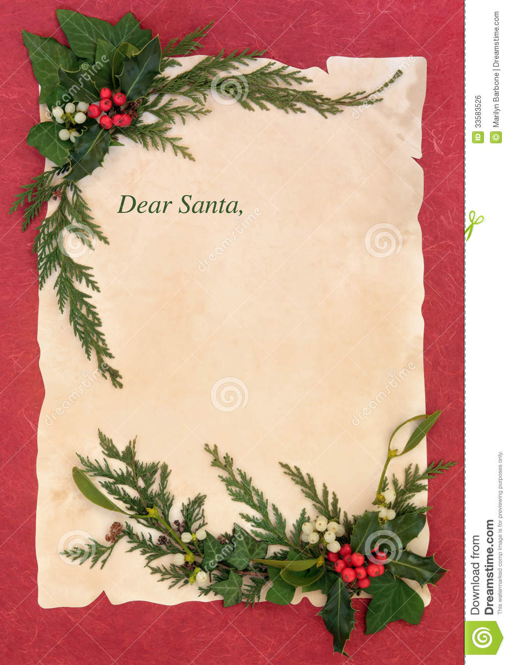 Christmas eve letter to santa claus with border of holly and winter ...