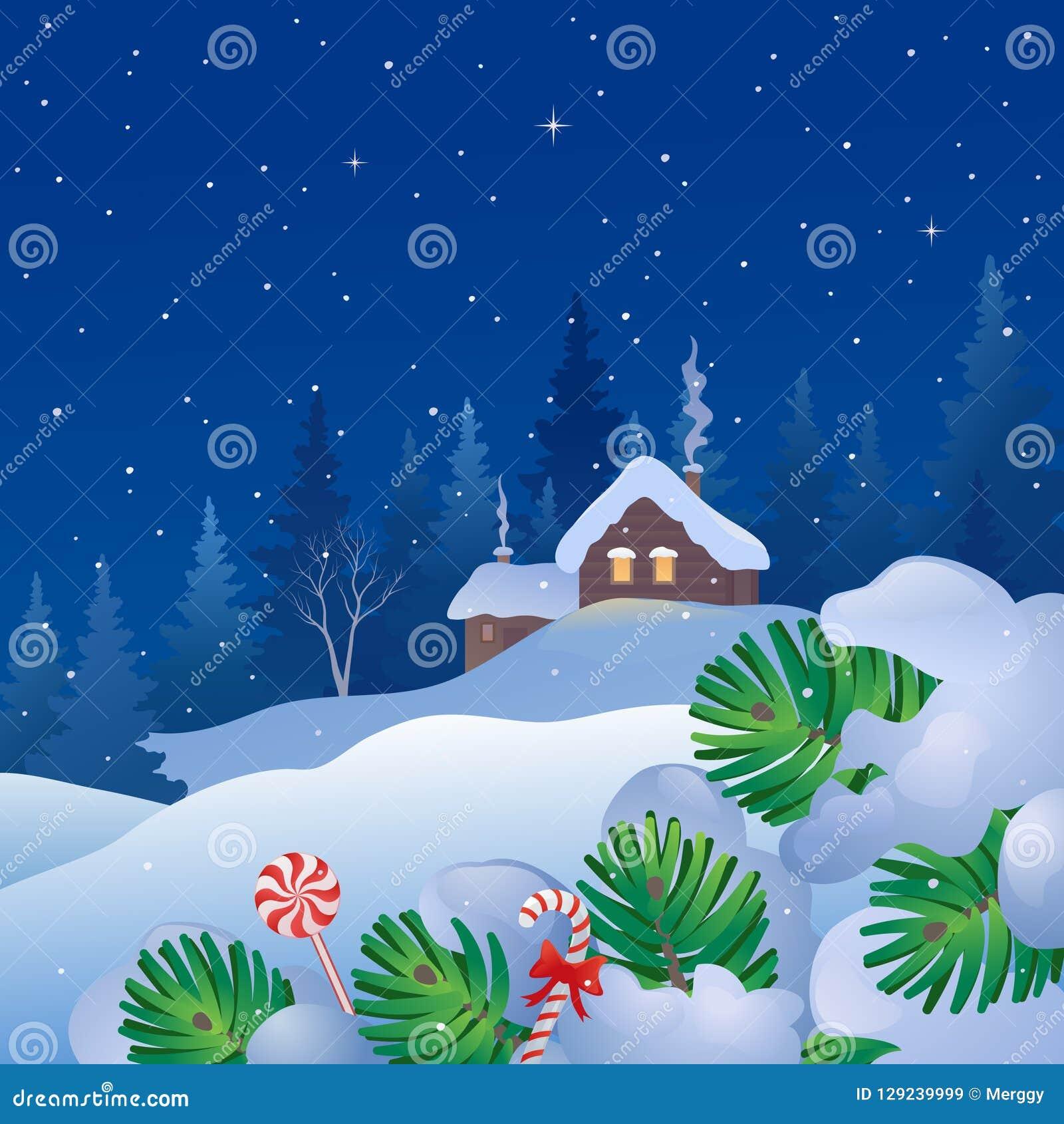 Christmas Eve Snowfall Stock Vector Illustration Of Village 129239999