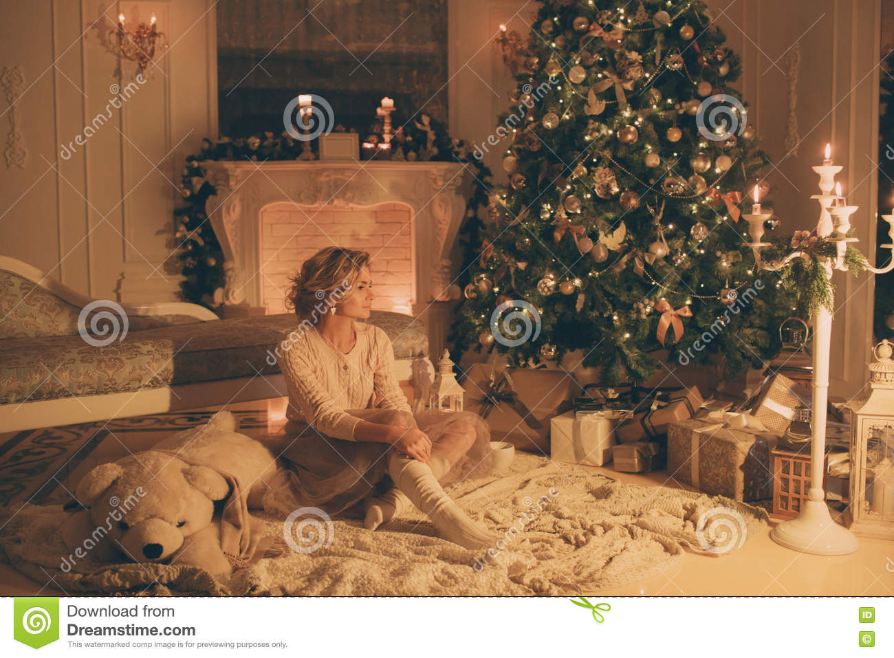 Christmas Evening  Young Beautiful Blonde Woman In Classic