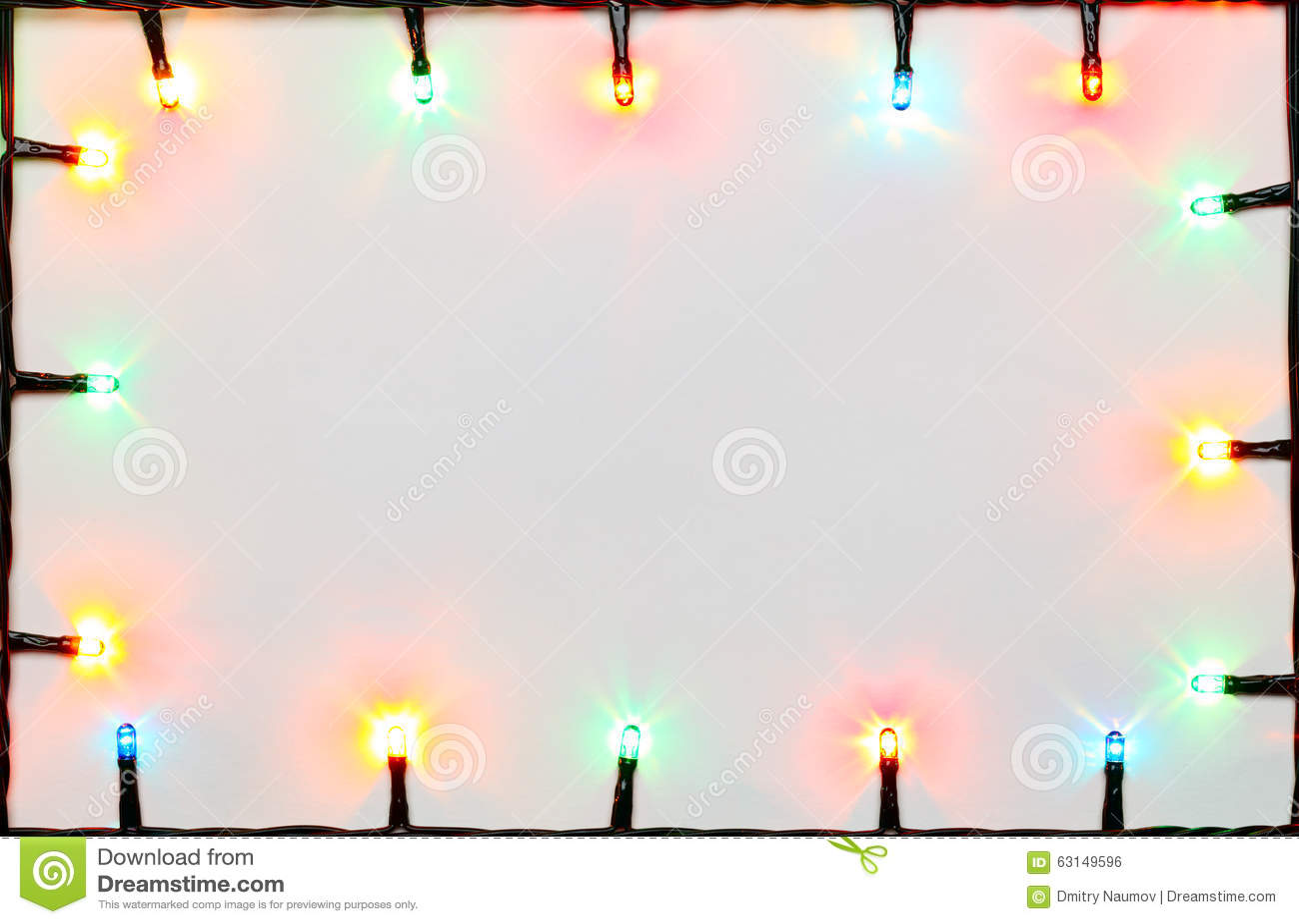Christmas Fairy Lights Border Stock Photo Image 63149596