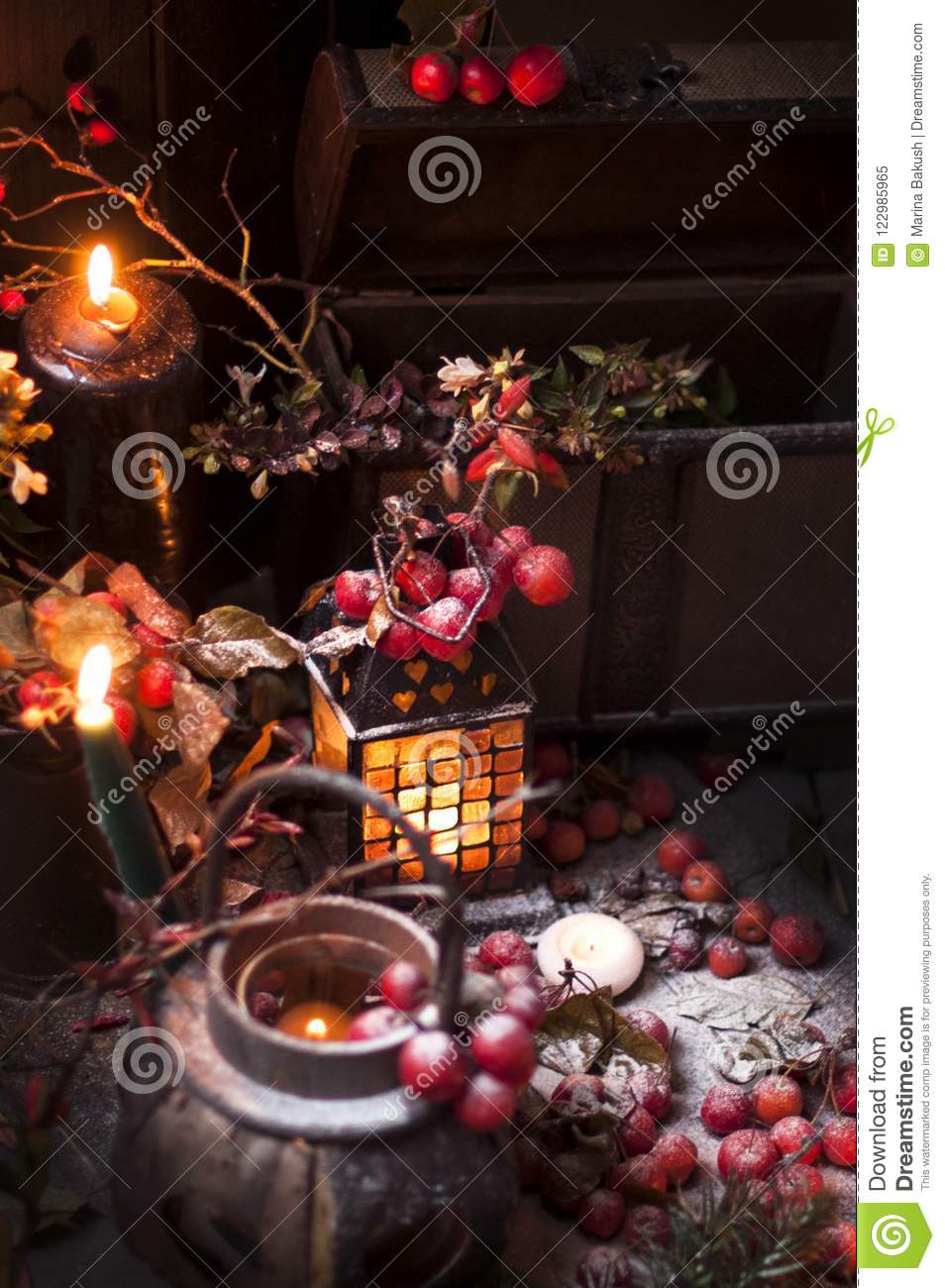 Download A Christmas Fairy Tale With Candles And Berries Under The Snow Decor Gifts