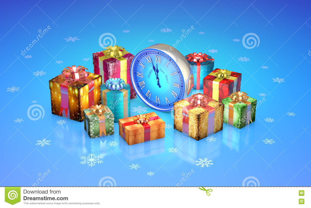Christmas Fairy Tale Gifts Beautiful Boxes Clock New Year 3D